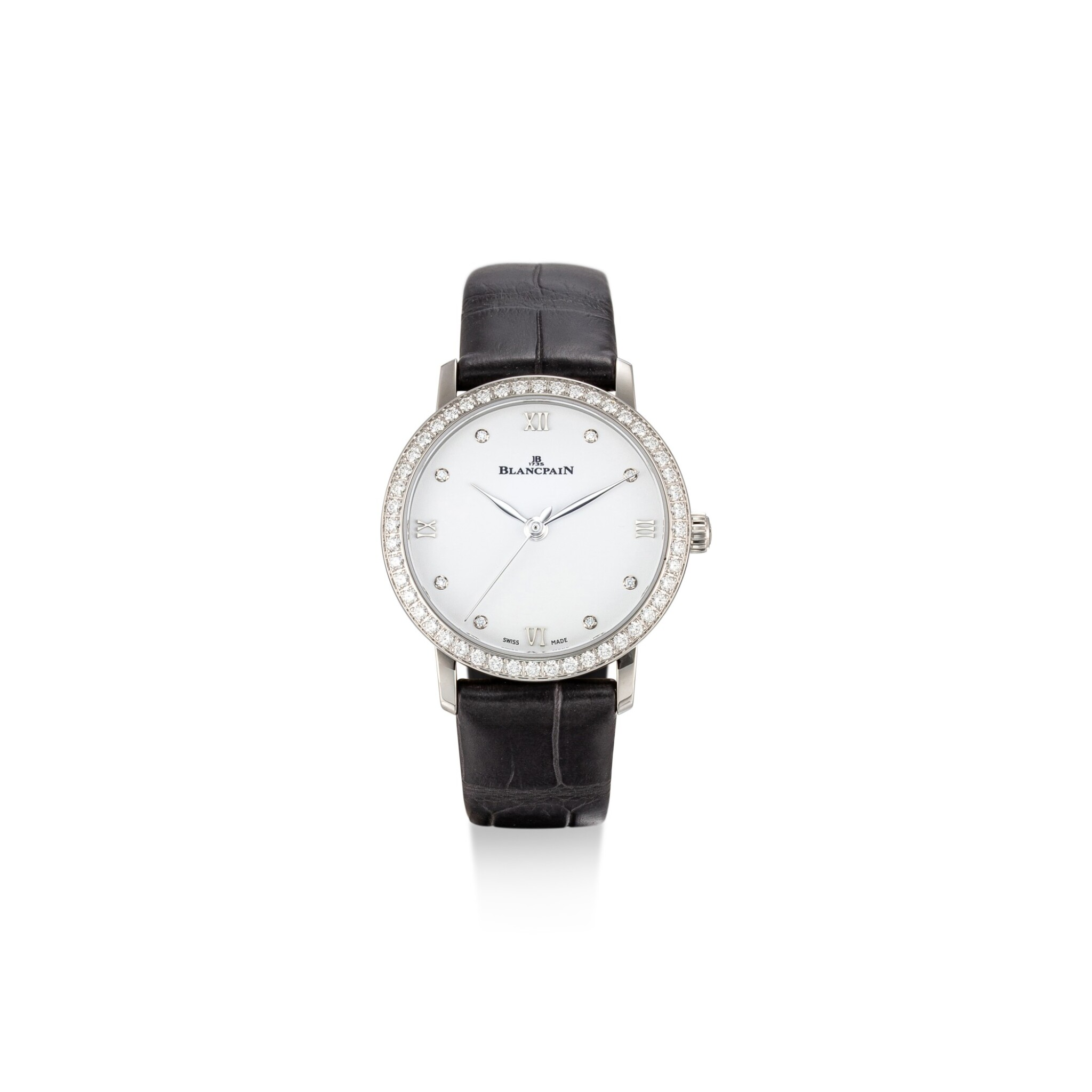 View full screen - View 1 of Lot 105. BLANCPAIN   VILLERET, REFERENCE 6104 4628 55A A STAINLESS STEEL AND DIAMOND-SET WRISTWATCH, CIRCA 2018.