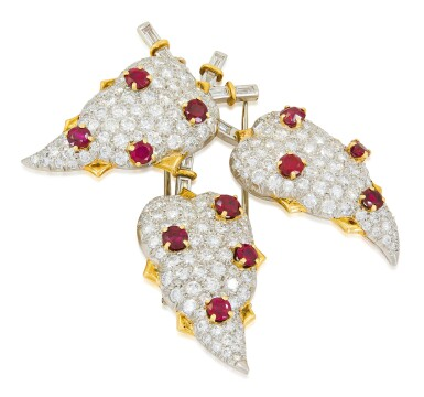 View 2. Thumbnail of Lot 30. SCHLUMBERGER FOR TIFFANY & CO.   RUBY AND DIAMOND CLIP-BROOCH.