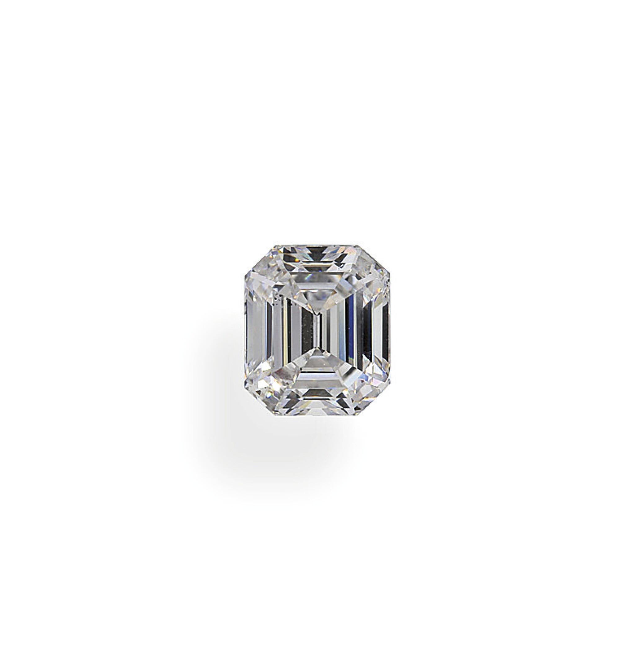 View full screen - View 1 of Lot 18. A 1.12 Carat Emerald-Cut Diamond, D Color, SI1 Clarity.