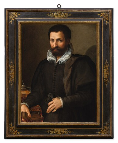 View 2. Thumbnail of Lot 20. Sold Without Reserve | TOMMASO D'ANTONIO MANZUOLI, CALLED MASO DA SAN FRIANO |  PORTRAIT OF A GENTLEMAN, THREE-QUARTERS, HIS ARM RESTING ON A WRITING TABLE.