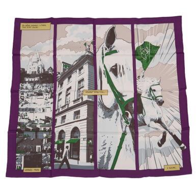 "View 1. Thumbnail of Lot 149. Hermès ""Quand Soudain"" Silk Twill Scarf 70cm."