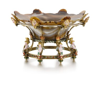 A HARDSTONE COUPE CENTREPIECE ON GOLD-MOUNTED AND ENAMELLED SILVER-GILT STAND, JEAN-VALENTIN MOREL, LONDON, 1850, SIGNED 'MOREL & CIE. À LONDRES.'