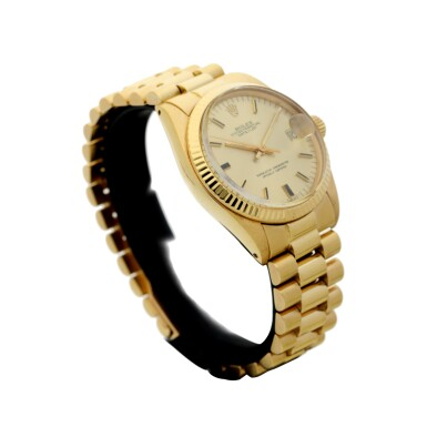 View 3. Thumbnail of Lot 81. REFERENCE 6827 DATEJUST A YELLOW GOLD AUTOMATIC WRISTWATCH WITH DATE AND BRACELET, CIRCA 1979.