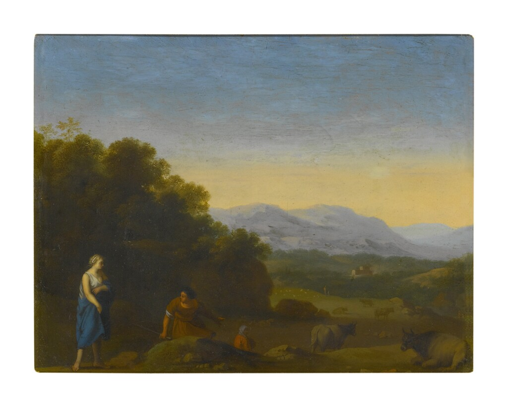 CIRCLE OF CORNELIS VAN POELENBURGH   ROLLING LANDSCAPE WITH SHEPHERDS AND CATTLE