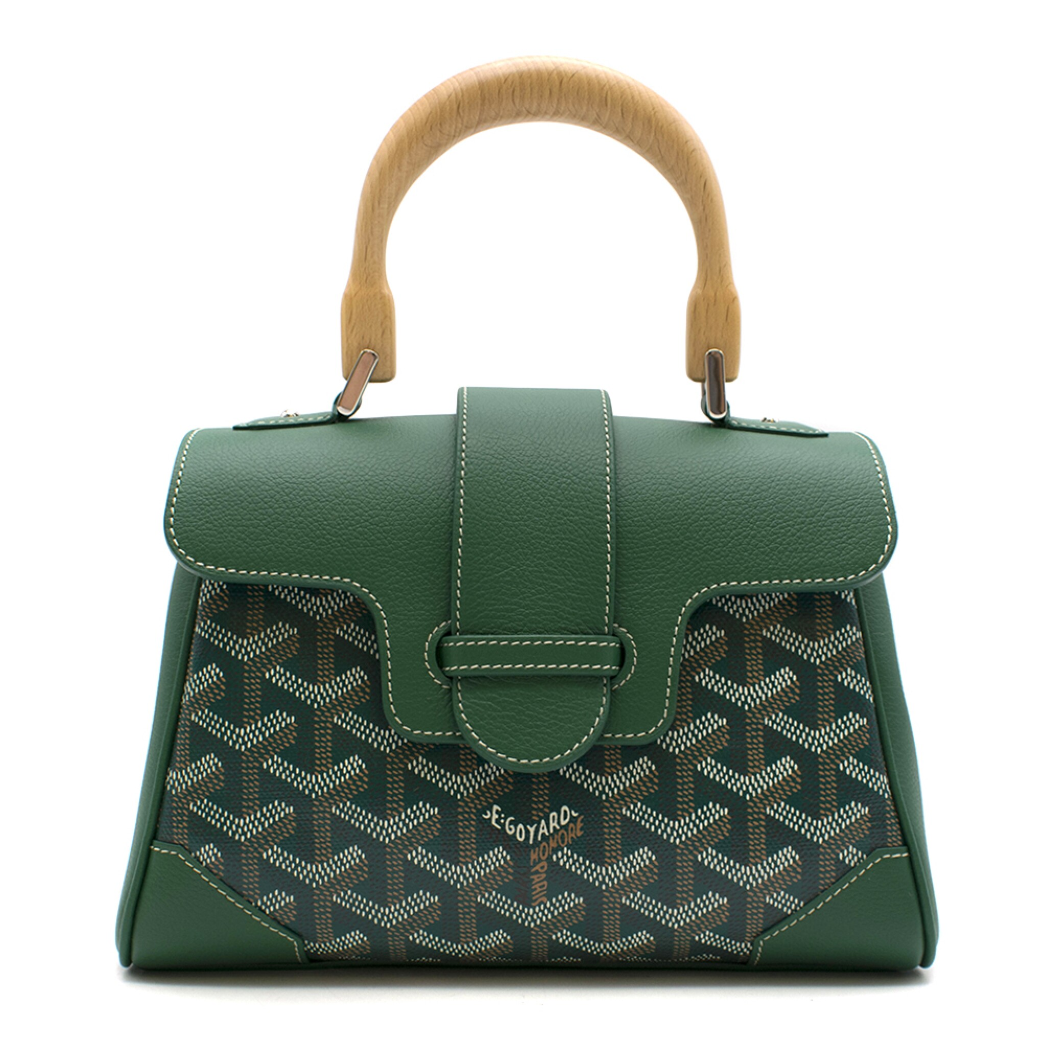 View full screen - View 1 of Lot 92. GOYARD | GREEN MINI SAIGON IN GOYARDINE CANVAS AND CALFSKIN WITH A WOODEN TOP HANDLE, 2018.