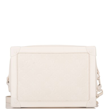 View 4. Thumbnail of Lot 85. Louis Vuitton x Virgil Abloh White Soft Trunk Bag of Taurillion Monogram Leather with White Hardware.
