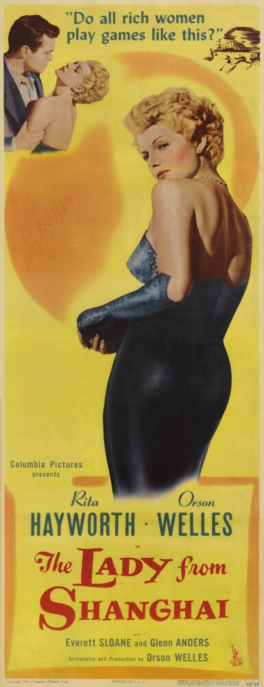 The Lady from Shanghai (1948) poster, US, signed by Orson Welles