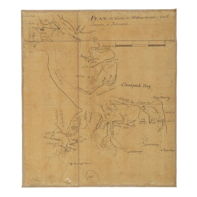 View 1. Thumbnail of Lot 552. (Yorktown Campaign—Jean-Nicolas Desandrouins) | A Yorktown Campaign map from the personal archive of the Comte de Rochambeau.