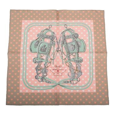 "View 1. Thumbnail of Lot 82. Hermès ""Brides de Gala Love"" Silk Pocket Square Scarf 45cm."