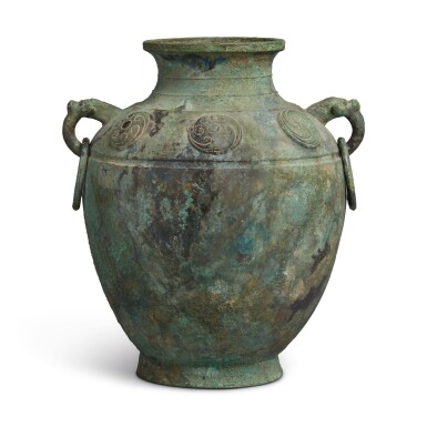 View 3. Thumbnail of Lot 9. A rare archaic bronze ritual wine vessel (Lei), Late Shang dynasty | 商末 需祖庚罍.