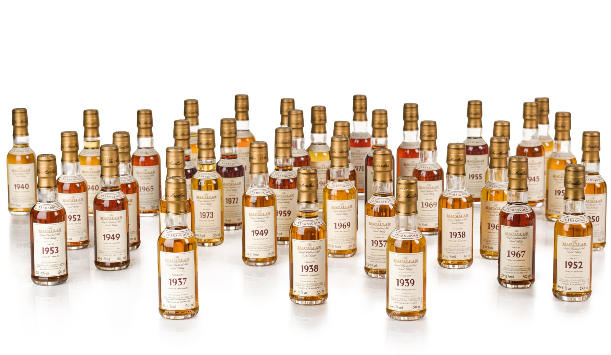 View full screen - View 1 of Lot 20. The Macallan Fine & Rare Miniature Collection (38 bt).