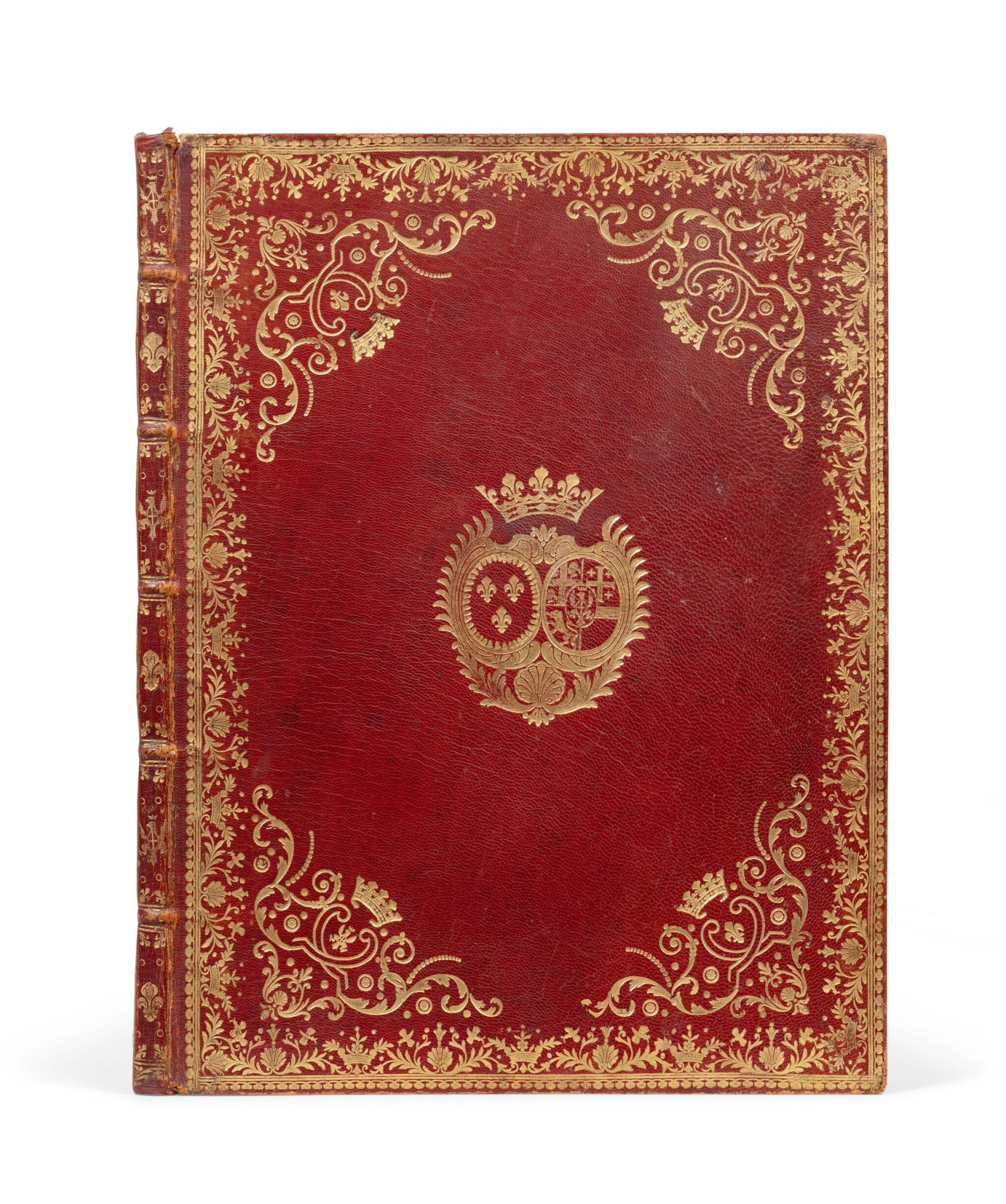 View full screen - View 1 of Lot 83. Six sonates à violon seul. [Vers 1770]. In-4. Maroquin rouge aux armes de la ctsse de Provence..