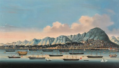 View 3. Thumbnail of Lot 203. A SET OF FOUR CHINA TRADE PAINTINGS QING DYNASTY, CA. 1880   清 約1880年 《香港》、《澳門》、《廣州》及《廈門》外銷油畫一組四幅.
