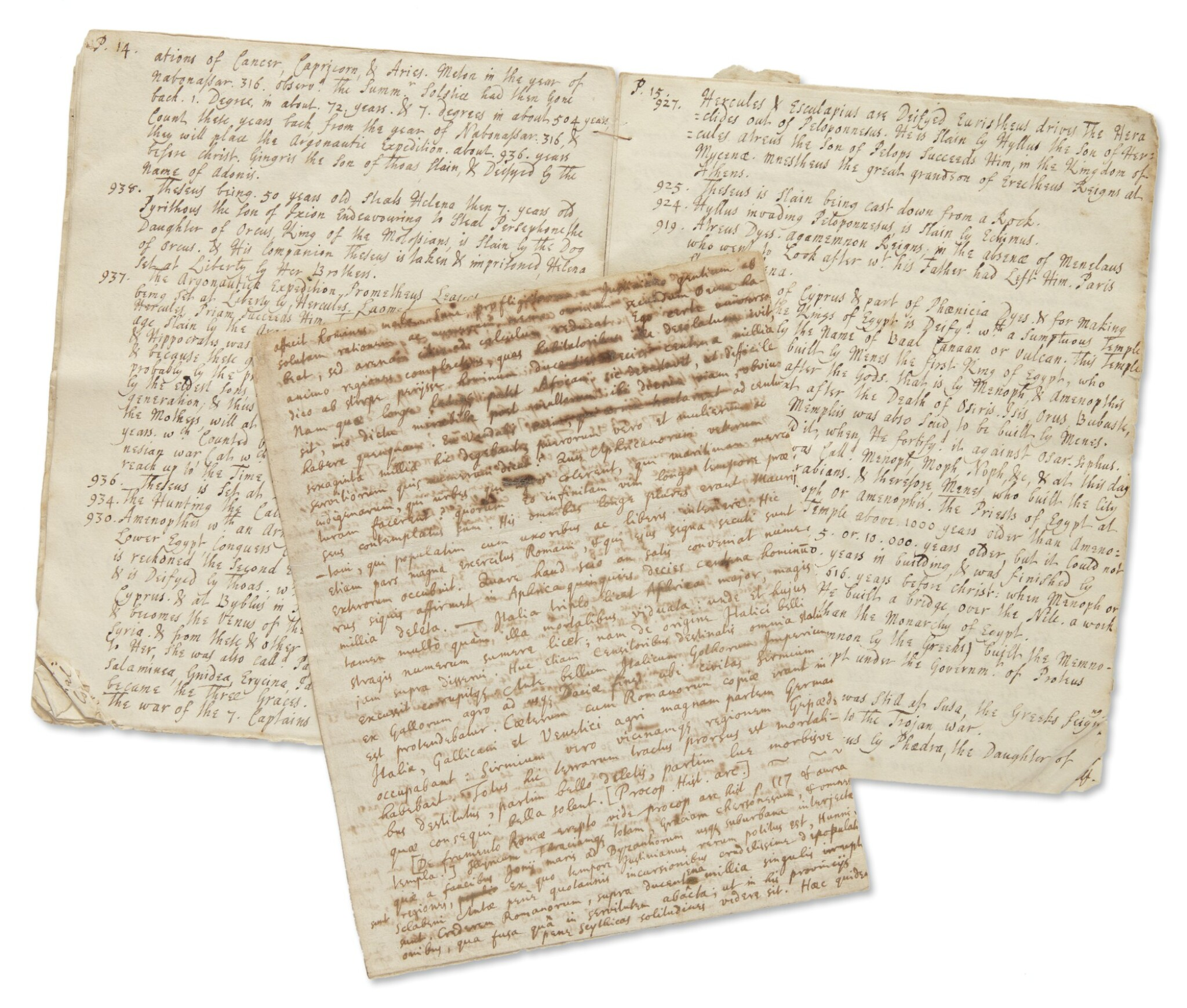 View full screen - View 1 of Lot 1. NEWTON, ISAAC | TWO HIGHLY IMPORTANT DOCUMENTS RELATING TO NEWTON'S HISTORICAL RESEARCHES.
