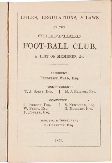 View 1. Thumbnail of Lot 141. Sheffield Football Club | Rules, Regulations, & Laws, 1859, EARLIEST RULES OF THE FIRST FOOTBALL CLUB.