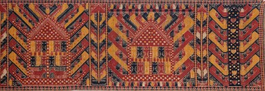 "View 4. Thumbnail of Lot 40. Tissu cérémoniel ""à jonques"" palepai, Lampung, Sumatra, Indonésie, 19e siècle | Ceremonial hanging ""ship cloth"" palepai, Lampung, Sumatra, Indonesia, 19th century."