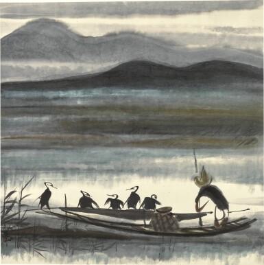 View 1. Thumbnail of Lot 132. LIN FENGMIAN (1900-1991) | CORMORAN FISHER | 林風眠(1900-1991年) 《漁父圖》 設色紙本 鏡框.