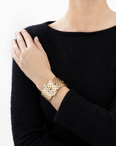 View 4. Thumbnail of Lot 60. Gold and diamond bracelet [Bracelet or et diamants], 1950s [vers 1950].