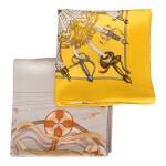 """Hermès Set of Two Scarves:""""La Danse du Cosmos"""" Silk Twill Scarf 90cm and """"Armeria"""" Silk Twill 90cm"""