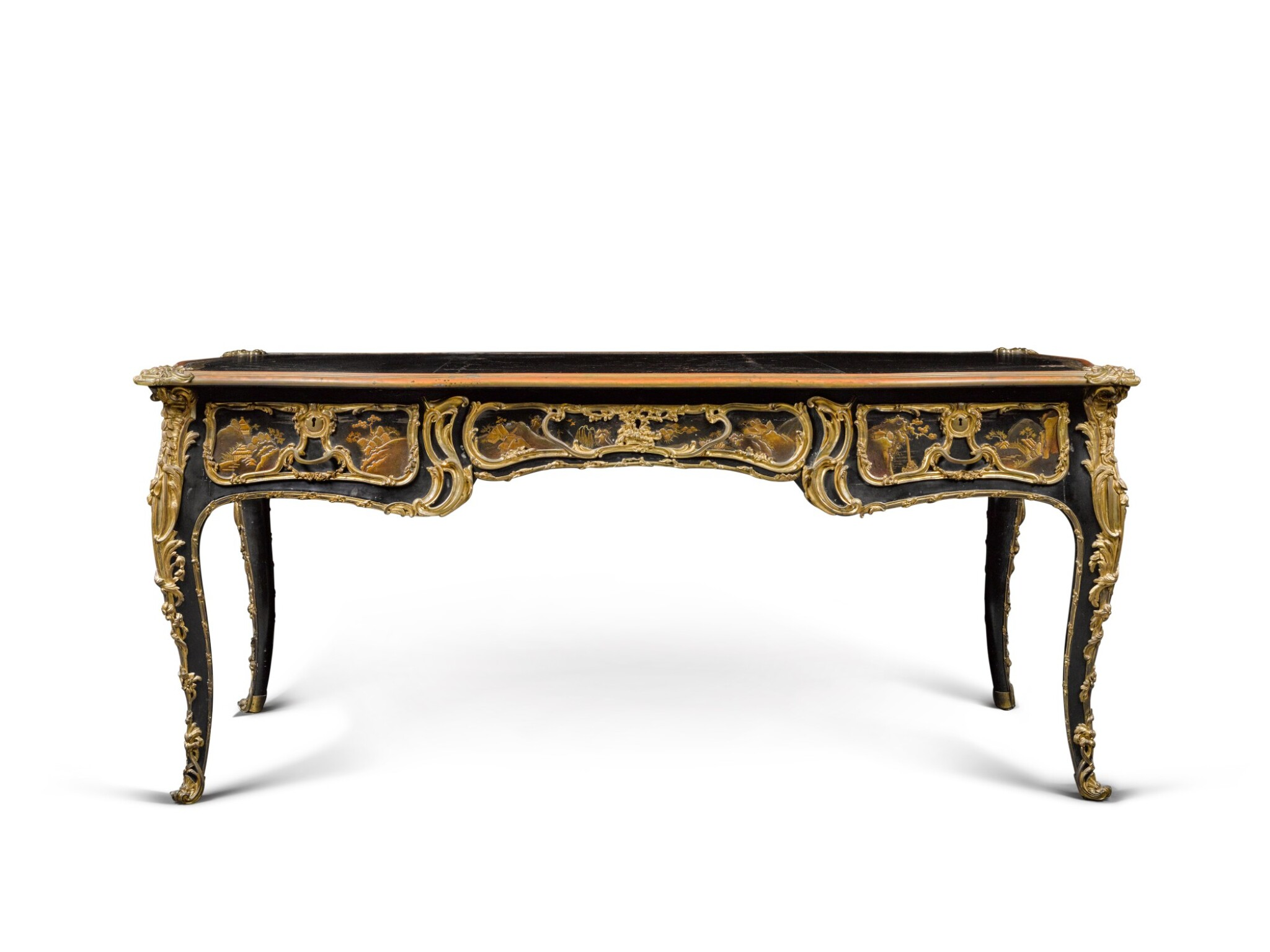 View full screen - View 1 of Lot 12. A LOUIS XV STYLE GILT-BRONZE MOUNTED JAPANESE BLACK LACQUER AND VERNIS MARTIN BUREAU PLAT, AFTER A MODEL BY JACQUES DUBOIS, LATE 19TH CENTURY.