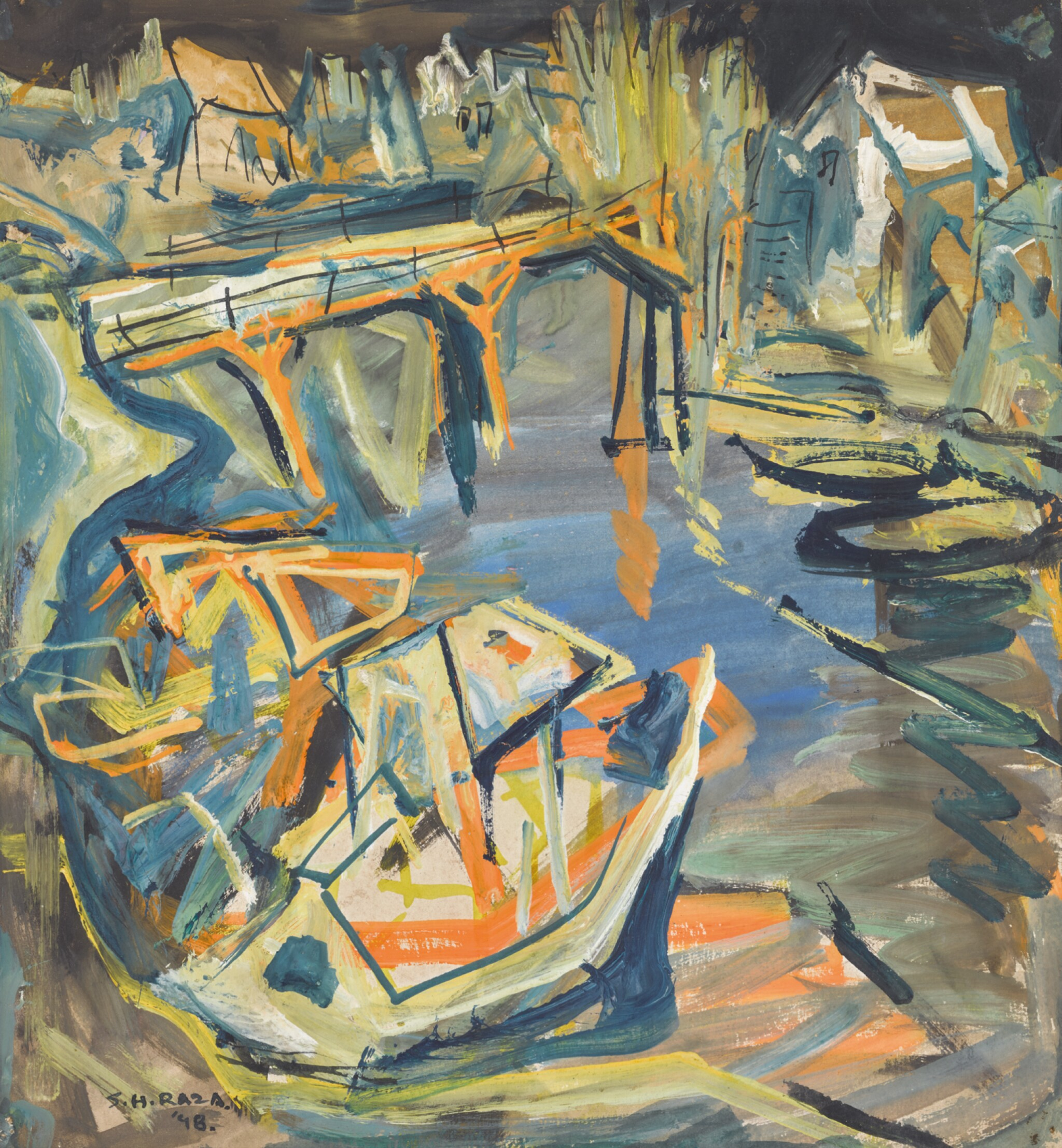 View full screen - View 1 of Lot 17. SAYED HAIDER RAZA | Untitled (Bridge with Boat).