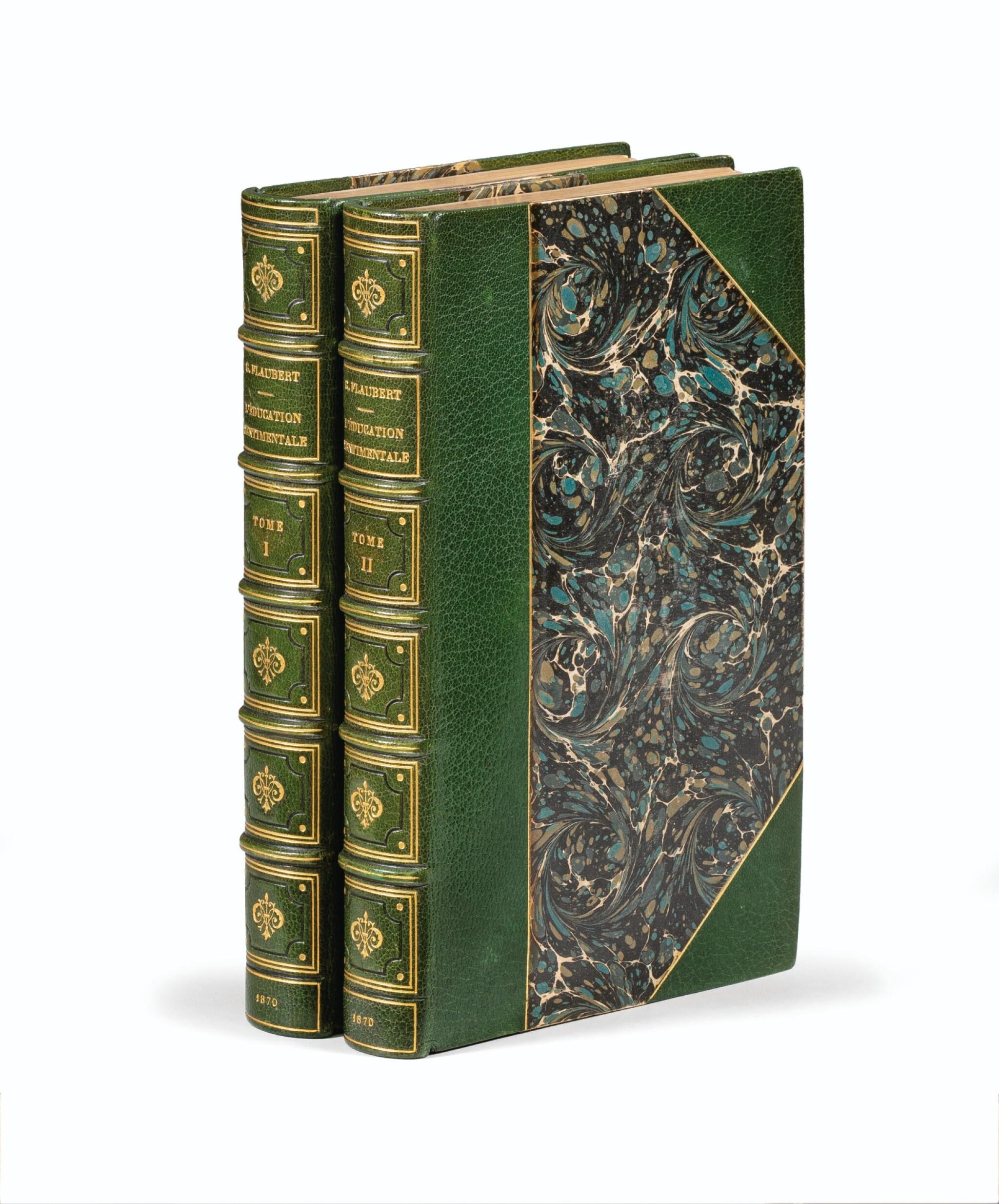 View 1 of Lot 42. FLAUBERT. L'Éducation sentimentale. 1870. 2 vol. in-8. Rel. de Carayon. E.O., ex. sur hollande, envoi à Janin.