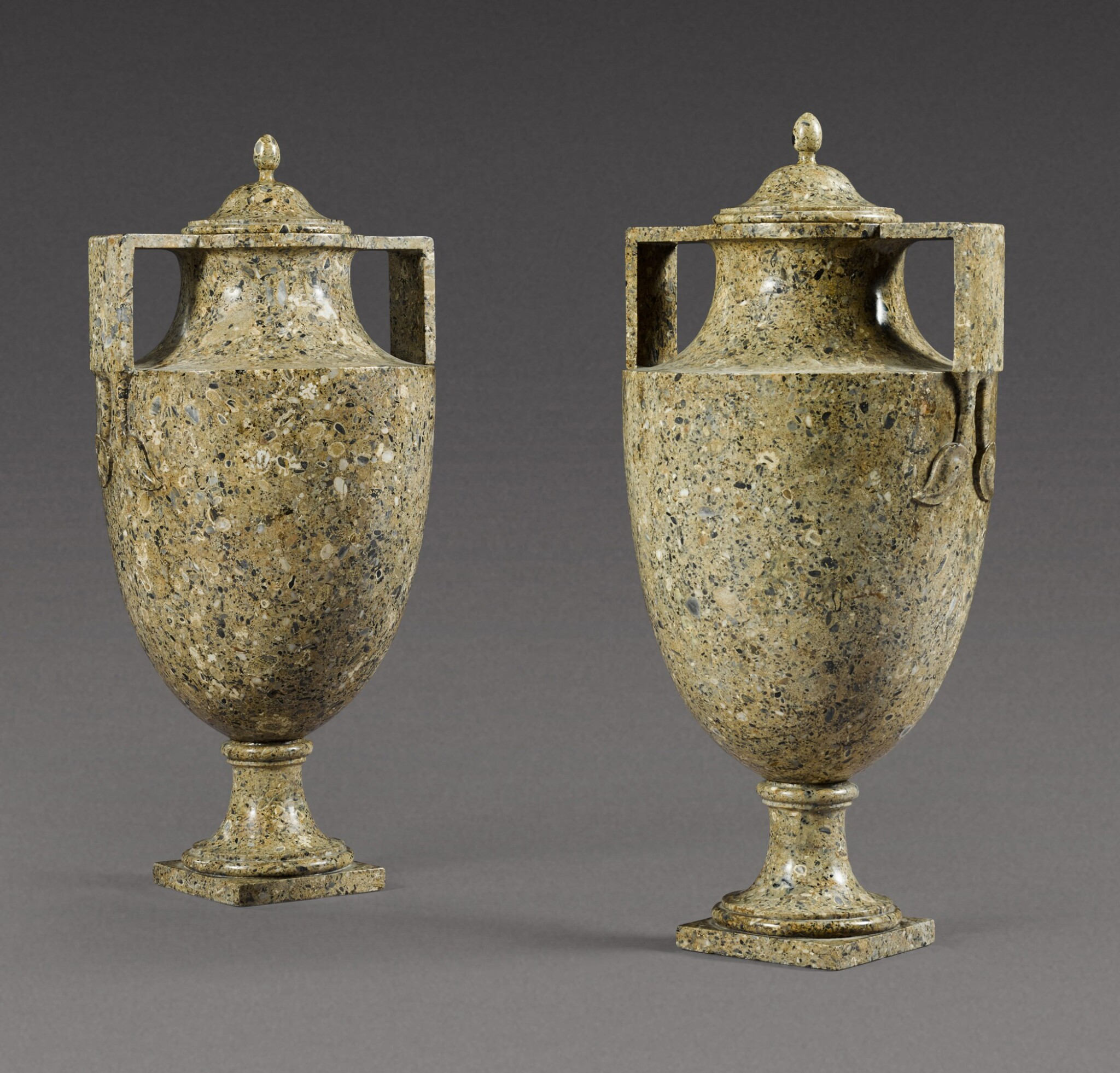 View 1 of Lot 166. A pair of Italian carved lumachella brecciata minuta vases, late 18th century.