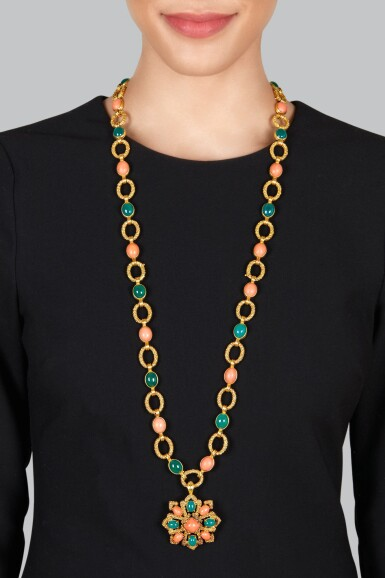 View 2. Thumbnail of Lot 16. Van Cleef & Arpels | Gold, Coral and Chrysoprase Pendant-Necklace, France.