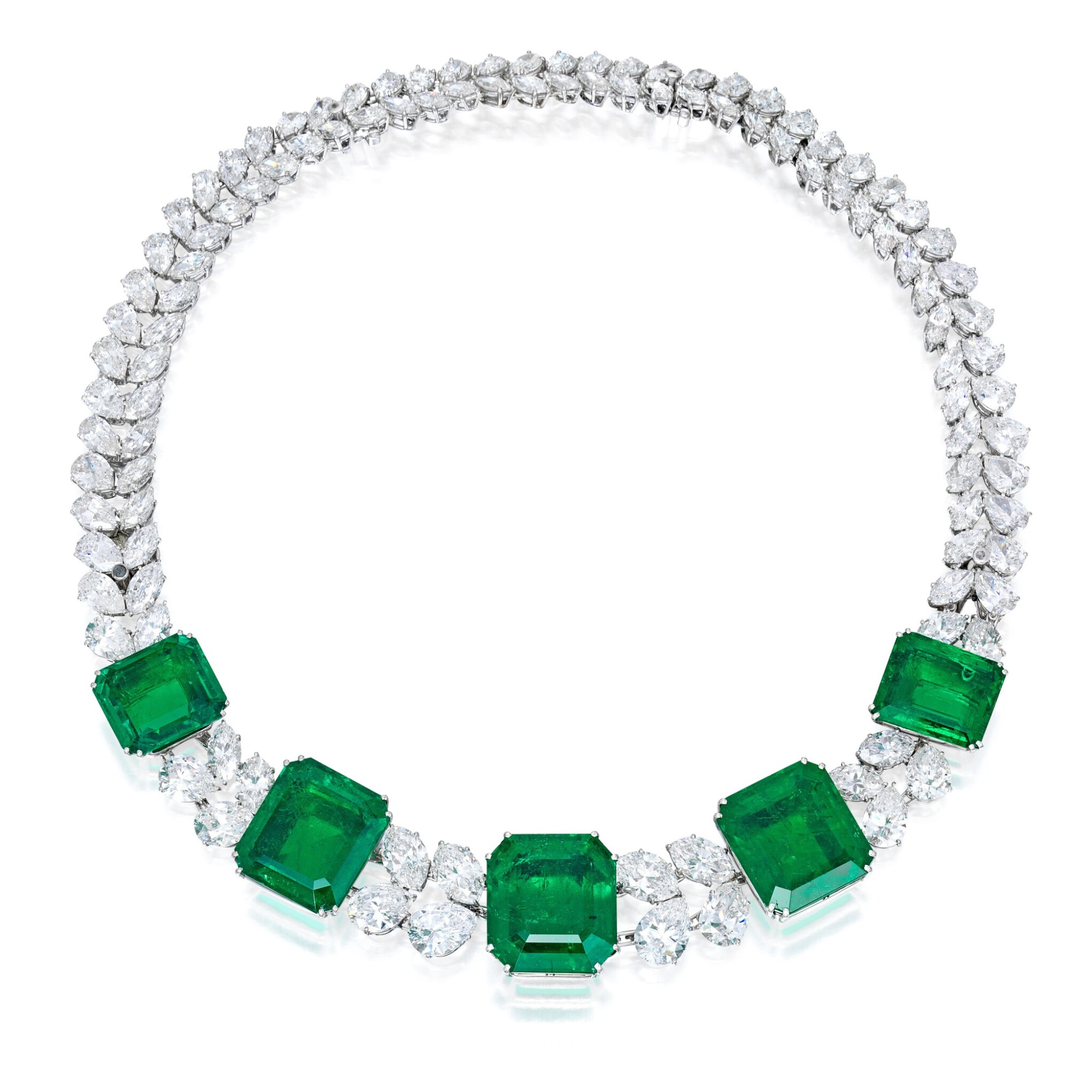 View full screen - View 1 of Lot 97. Harry Winston   An Impressive Emerald and Diamond Necklace.