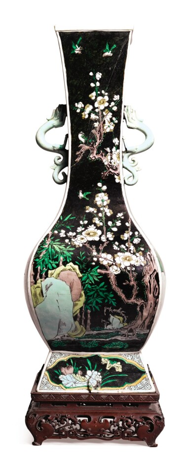 View 5. Thumbnail of Lot 1032.  A FAMILLE-NOIRE 'FLORAL' FANGHU-FORM VASE, QING DYNASTY, 19TH CENTURY.
