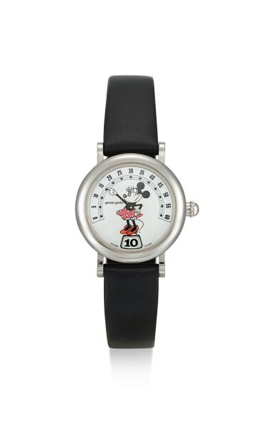 GÉRALD GENTA | FANTASY RETRO MINNIE MOUSE, REFERENCE G.3622.7, A STAINLESS STEEL JUMPING HOUR WRISTWATCH WITH RETROGRADE MINUTES AND MOTHER-OF-PEARL DIAL, CIRCA 1995