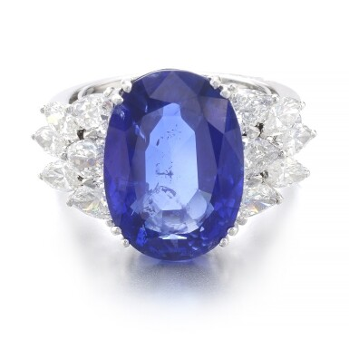 View 1. Thumbnail of Lot 1015. Sapphire and diamond ring.