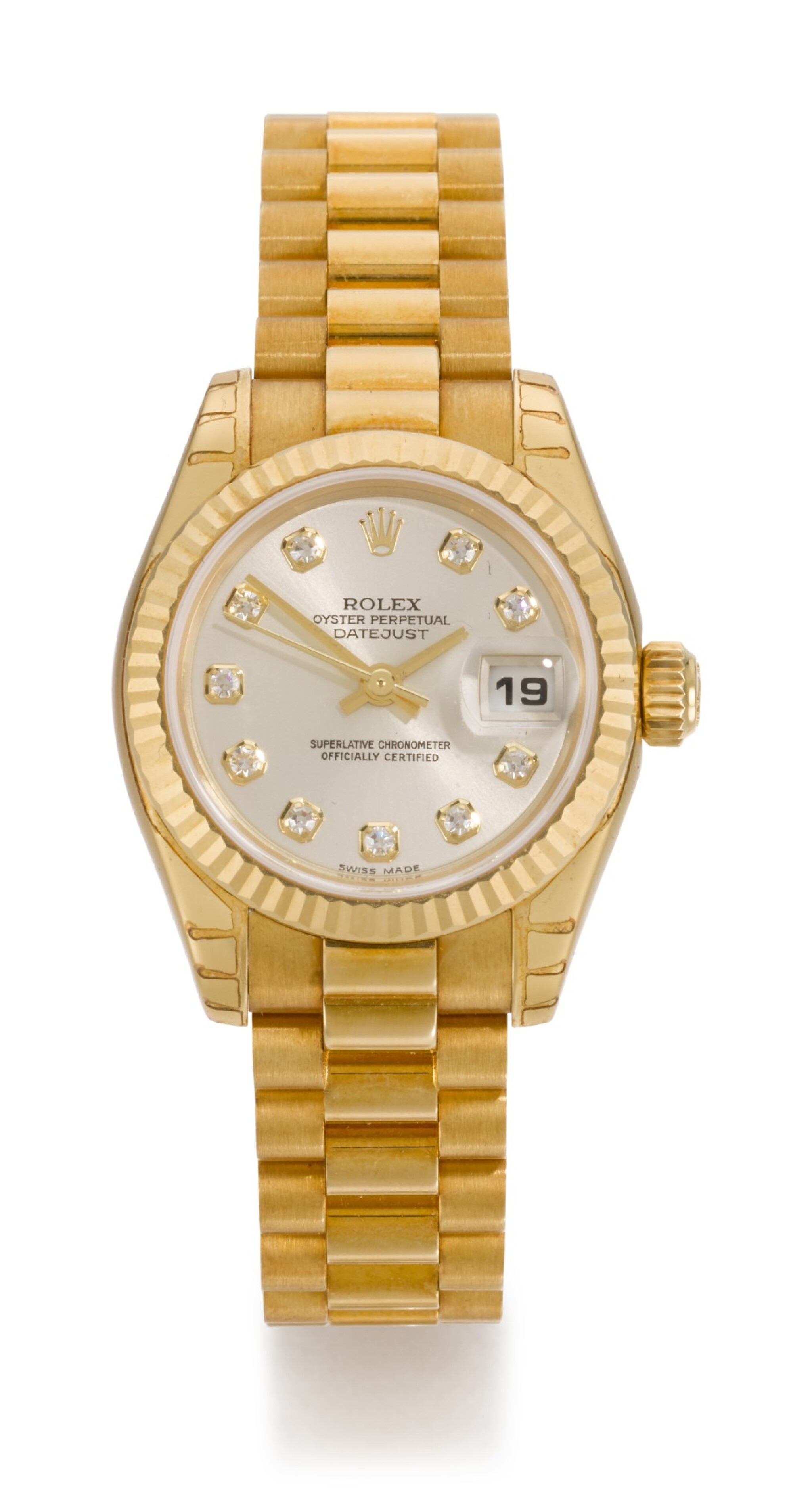 ROLEX | DATEJUST, REFERENCE 179178, YELLOW GOLD WRISTWATCH WITH DIAMOND-SET DIAL, DATE AND BRACELET, CIRCA 2001