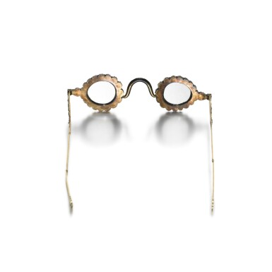 View 7. Thumbnail of Lot 214. A pair of Mughal spectacles set with diamond lenses, in diamond-mounted frames, India, lenses circa 17th century, frames 19th century.
