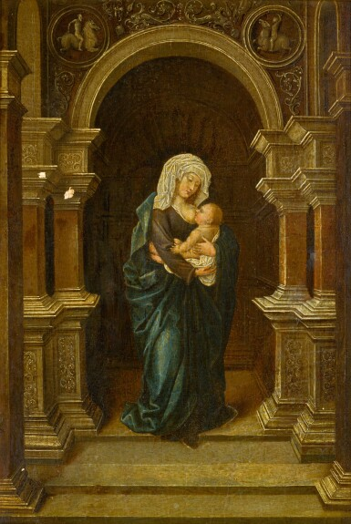 MANNER OF BERNARD VAN ORLEY | Madonna and Child, standing in an interior