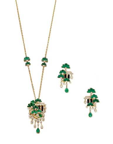 JAMES GANH | 'SECRET GARDEN' GEM SET AND DIAMOND DEMI-PARURE | James Ganh | 'Secret Garden' 寶石 配 鑽石 項鏈及吊耳環套裝