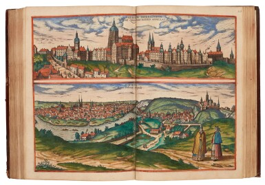 View 1. Thumbnail of Lot 41. Georg Braun und Franz Hogenberg | Civitates orbis terrarum. Cologne, 1597-c.1606, 5 volumes, hand-coloured, calf.