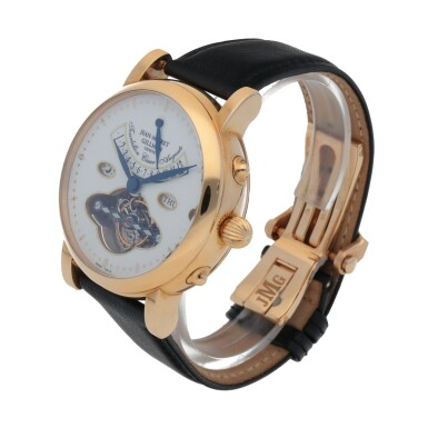 View 2. Thumbnail of Lot 414. CESAR AUGUSTE PINK GOLD TOURBILLON WRISTWATCH WITH DAY, DATE, DAY/NIGHT INDICATION,12 HOUR INDICIATION AND ENAMEL DIAL CIRCA 2005.