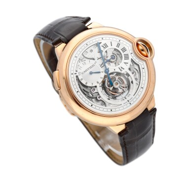 View 3. Thumbnail of Lot 13. Ballon Bleu, Ref. 3326 Limited edition pink gold tourbillon wristwatch with dual time indication Circa 2009.
