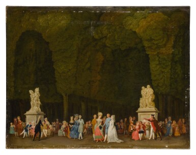 View 1. Thumbnail of Lot 615. Elegant figures in a park, some strolling in the foreground while others sit in groups and converse.
