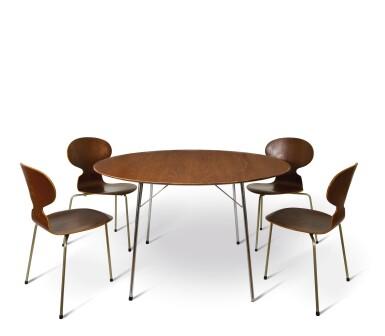 阿納·雅各布森 ARNE JACOBSEN | 四張型號3100早期螞蟻椅及型號3600餐桌 SET OF FOUR EARLY 'ANT' CHAIRS, MODEL NO. 3100 AND DINING TABLE, MODEL NO 3600