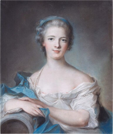 View 1. Thumbnail of Lot 62. Portrait of a lady wearing a blue headband and pearls.