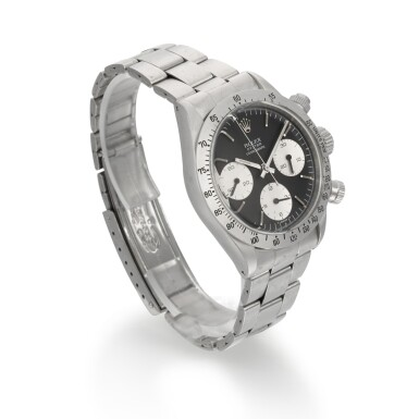 View 3. Thumbnail of Lot 370. ROLEX   REFERENCE 6265 DAYTONA, A STAINLESS STEEL CHRONOGRAPH WRISTWATCH WITH REGISTERS AND BRACELET, CIRCA 1972.