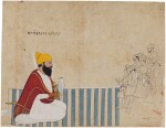 A RAJA ON A DHURRIE RECEIVING COMPANY, A FALCON ON HIS WRIST, ATTRIBUTABLE TO NAINSUKH OF GULER OR A DESCENDANT, INDIA, PAHARI, MID- TO LATE-18TH CENTURY