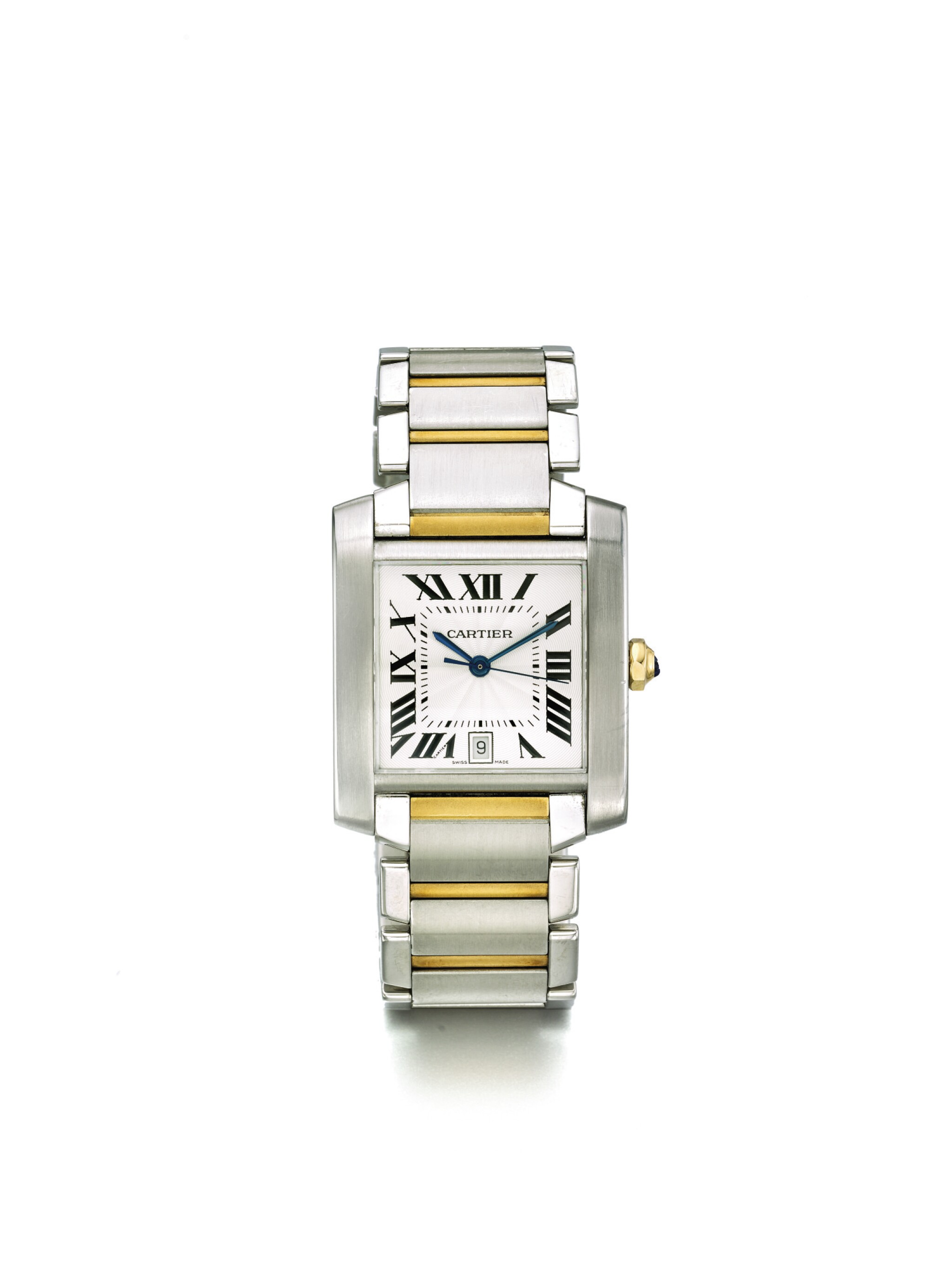 CARTIER   TANK FRANÇAISE REF 2302 A STAINLESS STEEL AND YELLOW GOLD RECTANGULAR AUTOMATIC CENTER SECONDS WRISTWATCH WITH DATE AND BRACELET CIRCA 2005