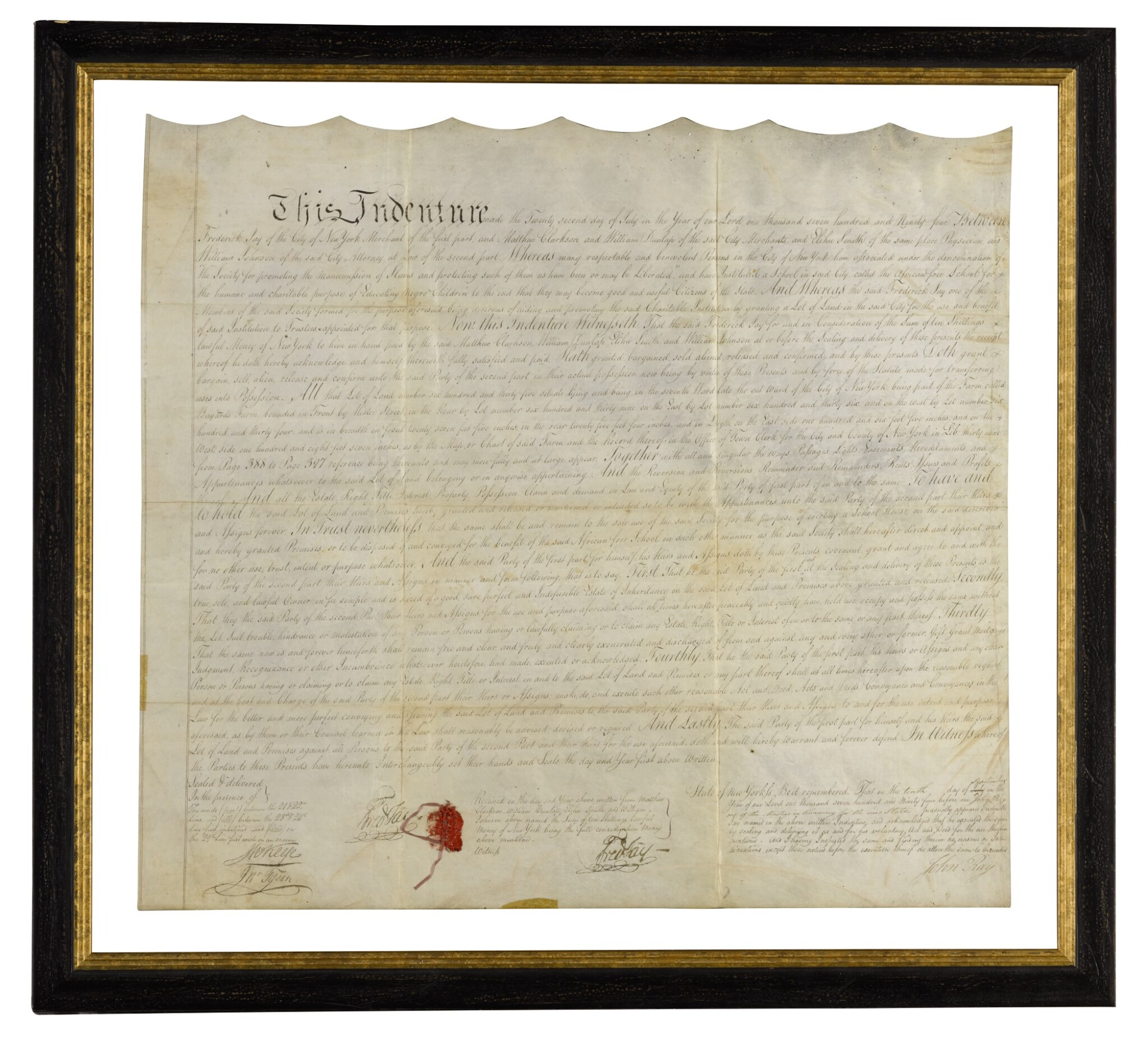 View full screen - View 1 of Lot 117. THE AFRICAN FREE SCHOOL | Indenture signed, New York, 22 July 1794.
