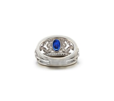 View 3. Thumbnail of Lot 22. SAPPHIRE AND DIAMOND RING.