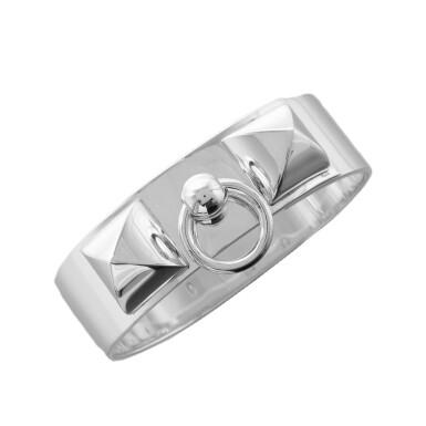 View 1. Thumbnail of Lot 90. Hermès Sterling Silver MM Collier De Chien (CDC) Bracelet Size Small.