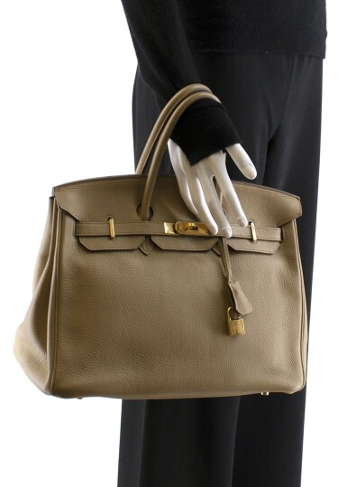 View 8. Thumbnail of Lot 31. HERMÈS | CARDAMOME BIRKIN 35 IN TAURILLION CLEMENCE LEATHER WITH GOLD HARDWARE, 2008.