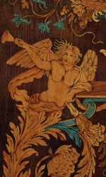 A PAIR OF LOUIS XIV WALNUT, BOXWOOD, SYCAMORE, FRUITWOOD AND SCAGLIOLA MARQUETRY PANELS BY THOMAS HACHE, GRENOBLE, LATE 17TH CENTURY